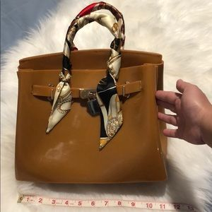 Camel jelly top handle bag with strap